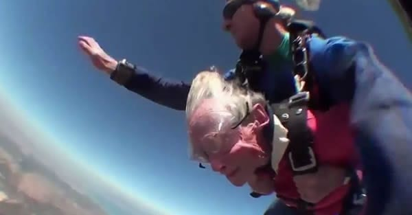 100 Yeard old Grandmother Skydiving. Georgina Harwood