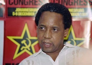 Newly elected secretary general of South African Communist Party (SACP) Chris Hani speaks at a press conference on the third day of the first SACP legal congress inside South Africa in 41 years, in Soweto on December 07, 1991.