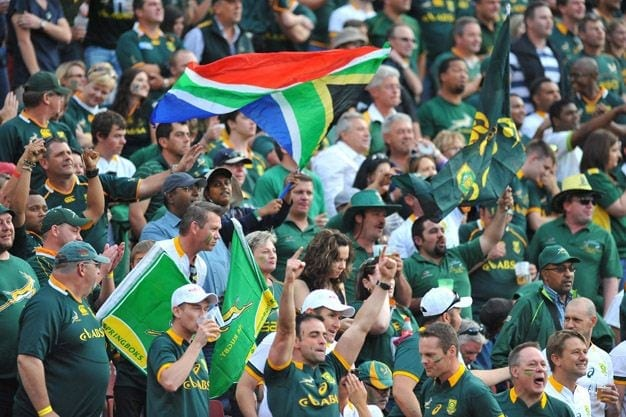 JOHANNESBURG, SOUTH AFRICA - OCTOBER 04: General view of fans during The Castle Rugby Championship match between South Africa and New Zealand at Ellis Park on October 04, 2014 in Johannesburg, South Africa. (Photo by Ashley Vlotman/Gallo Images)