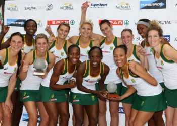 CAPE TOWN, SOUTH AFRICA – JUNE 21: The triumphant South African team after winning the Spar Challenge by beating Scotland in the 3rd test between South Africa and Scotland at Bellville Velodrome on June 21, 2014 in Cape Town, South Africa. EDITORS NOTE: For free editorial use. Not available for sale. No commercial usage. (Photo by Reg Caldecott/Gallo Images)
